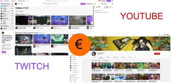 Capture d'écran twitch benzai vs youtube benzai